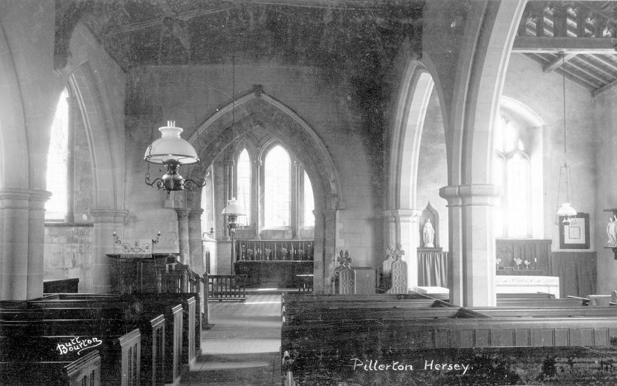 Pillerton Hersey parish church interior, showing parts of nave, aisles and chancel.  1930s |  IMAGE LOCATION: (Warwickshire County Record Office)