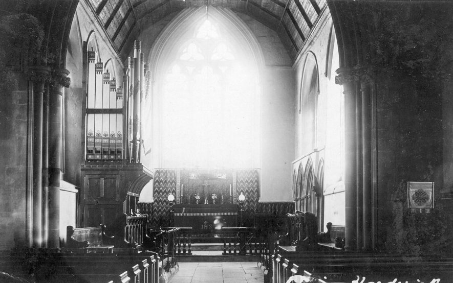 Priors Hardwick parish church interior, looking E.   Early 20th Cent. |  IMAGE LOCATION: (Warwickshire County Record Office)