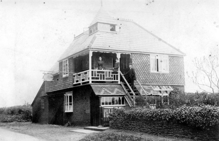 Unusual building with fancy slate and tile adornment known as the Temperance Tea House, Edgehill.  1900s |  IMAGE LOCATION: (Warwickshire County Record Office)