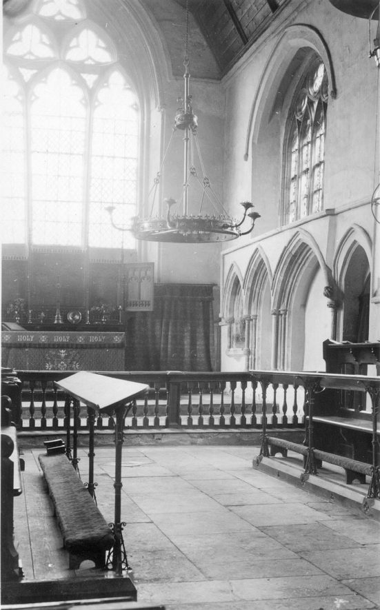 Priors Hardwick parish church interior, looking SE.  1930-40s |  IMAGE LOCATION: (Warwickshire County Record Office)