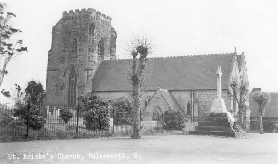 St Edith's parish church, taken from the north west, Polesworth.  1940-50s |  IMAGE LOCATION: (Warwickshire County Record Office)