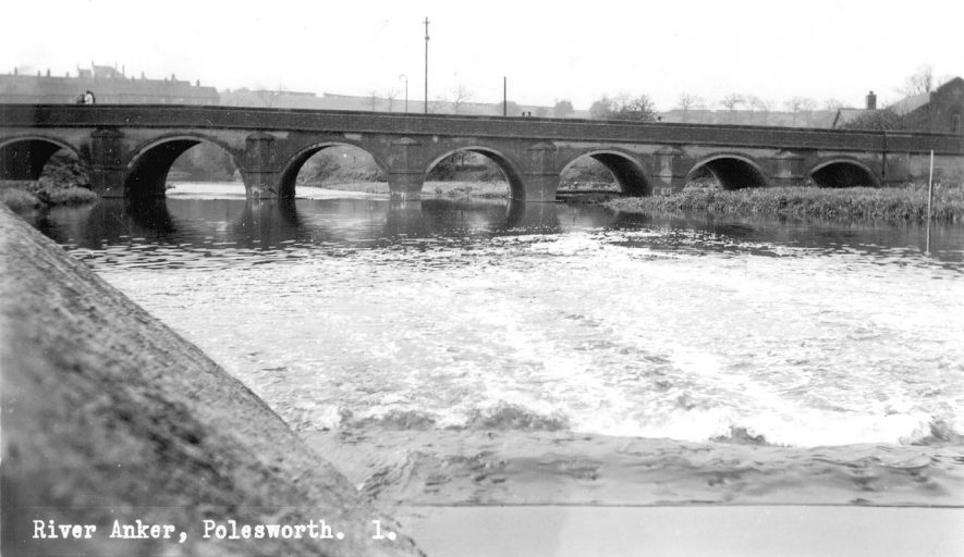 Bridge over River Anker, with mill sluices in the foreground, Polesworth.  1940-50s |  IMAGE LOCATION: (Warwickshire County Record Office)