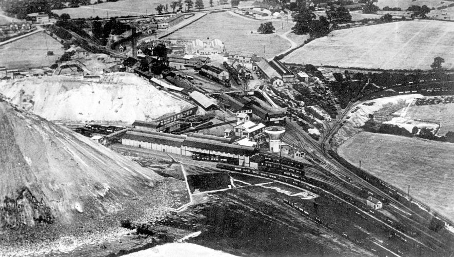 Birch Coppice Collieries, Morris & Shaw Ltd, taken from the air, Polesworth. Postcard enclosed with printed estimate of value (1950).  1935