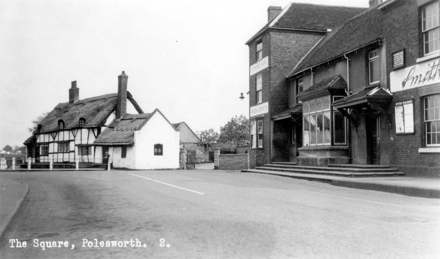 The Square, Polesworth, showing shops and thatched cottage.  1940-50s |  IMAGE LOCATION: (Warwickshire County Record Office)