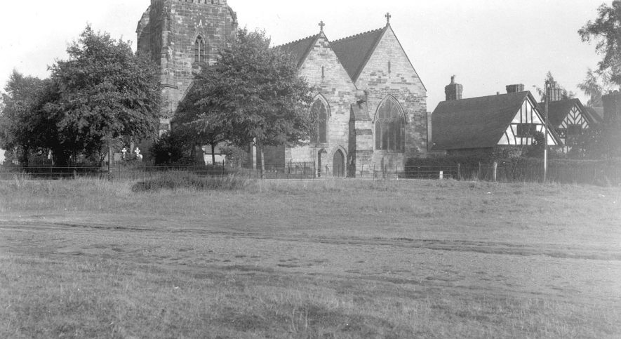 St Editha's church, Polesworth, from the north west.  August 1940 |  IMAGE LOCATION: (Warwickshire County Record Office)
