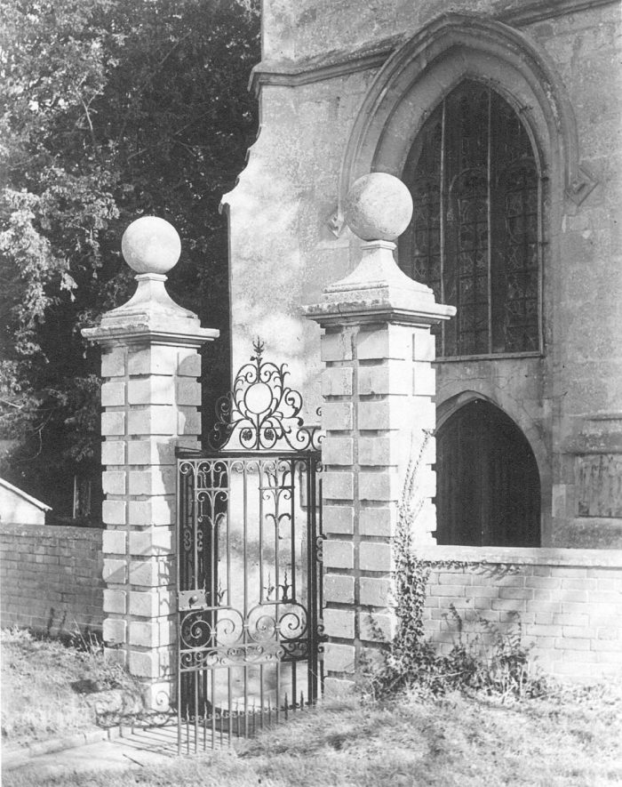 Wrought iron entrance gate to St Mary's church, Preston on Stour.  1960s |  IMAGE LOCATION: (Warwickshire County Record Office)