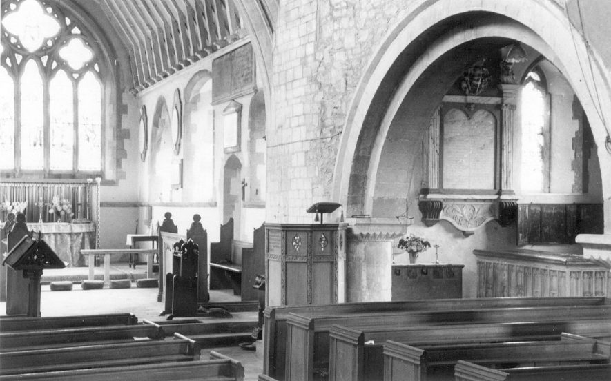Lower Quinton parish church interior, looking E.  1950 |  IMAGE LOCATION: (Warwickshire County Record Office)
