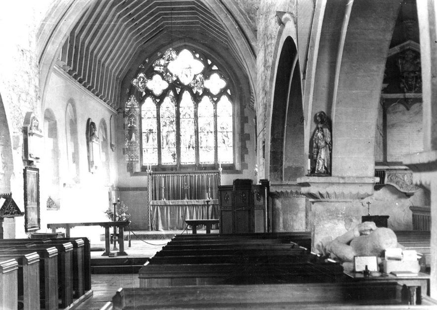 Lower Quinton parish church chancel.  1950 |  IMAGE LOCATION: (Warwickshire County Record Office)