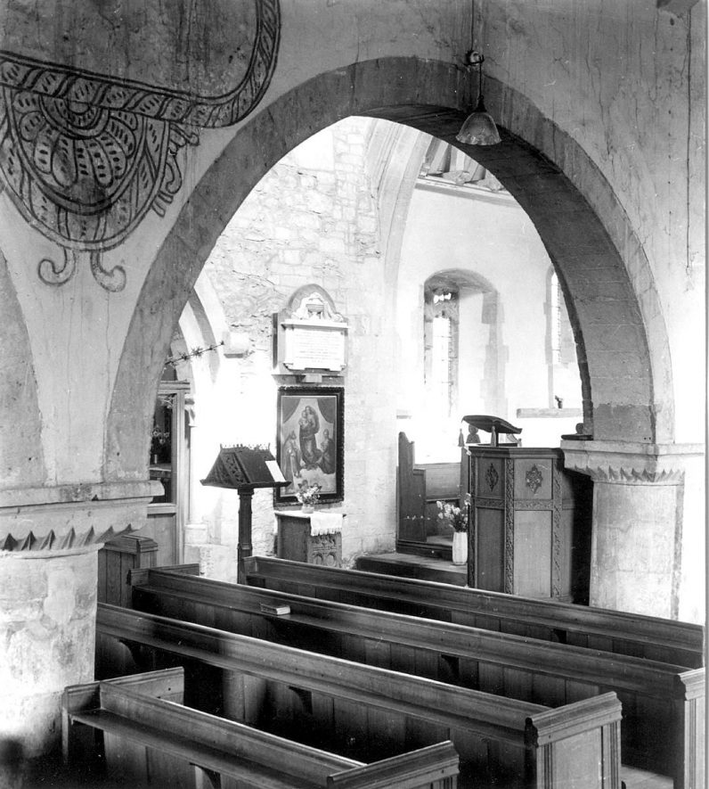 Lower Quinton parish church interior.  Part of nave.  1950 |  IMAGE LOCATION: (Warwickshire County Record Office)