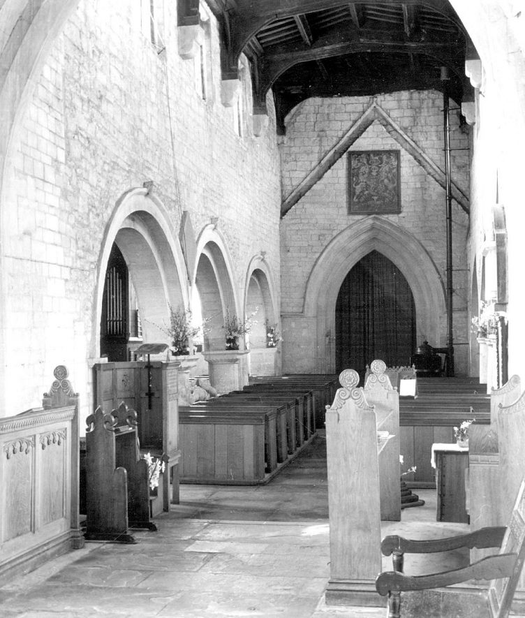 Lower Quinton parish church interior.  Looking W from chancel.  1950 |  IMAGE LOCATION: (Warwickshire County Record Office)