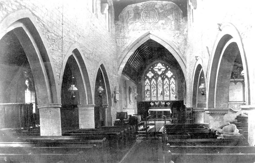 Lower Quinton parish church interior.  Looking E from W end, showing old fresco found under plaster.  1900s |  IMAGE LOCATION: (Warwickshire County Record Office)
