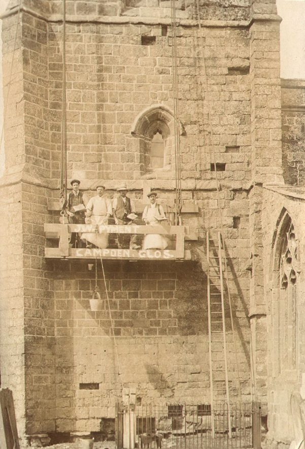 Lower Quinton parish church. Repairs to tower.  1900s |  IMAGE LOCATION: (Warwickshire County Record Office)