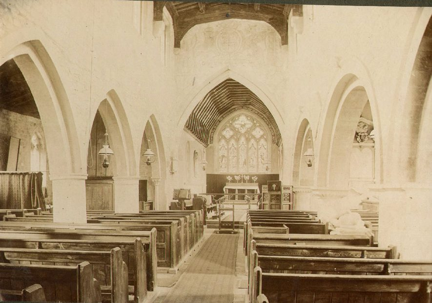 Lower Quinton parish church interior looking E & showing old fresco found under plaster.  1900s |  IMAGE LOCATION: (Warwickshire County Record Office)