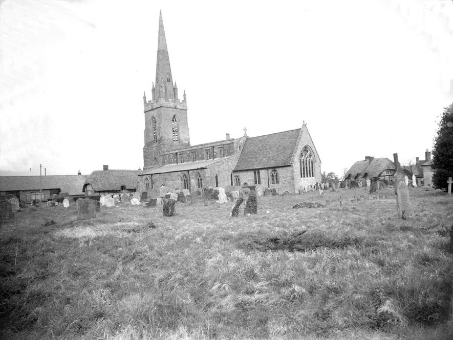 Lower Quinton parish church (St Swithin's).  1957 |  IMAGE LOCATION: (Warwickshire County Record Office)