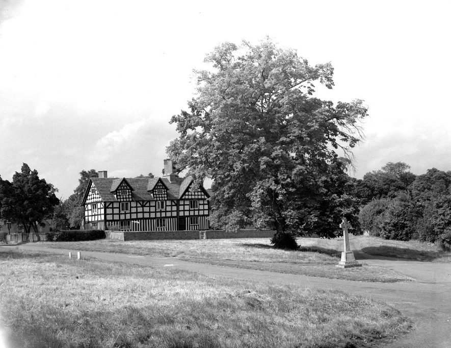 Village view with timbered house and war memorial, Preston on Stour.  1961 |  IMAGE LOCATION: (Warwickshire County Record Office)