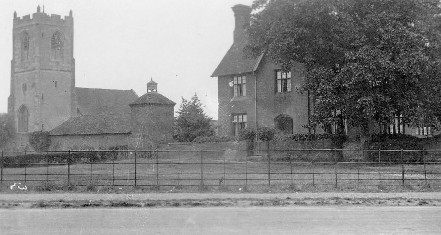St Leonard's Church exterior and the Hall next door, Ryton of Dunsmore.  1910 |  IMAGE LOCATION: (Warwickshire County Record Office)
