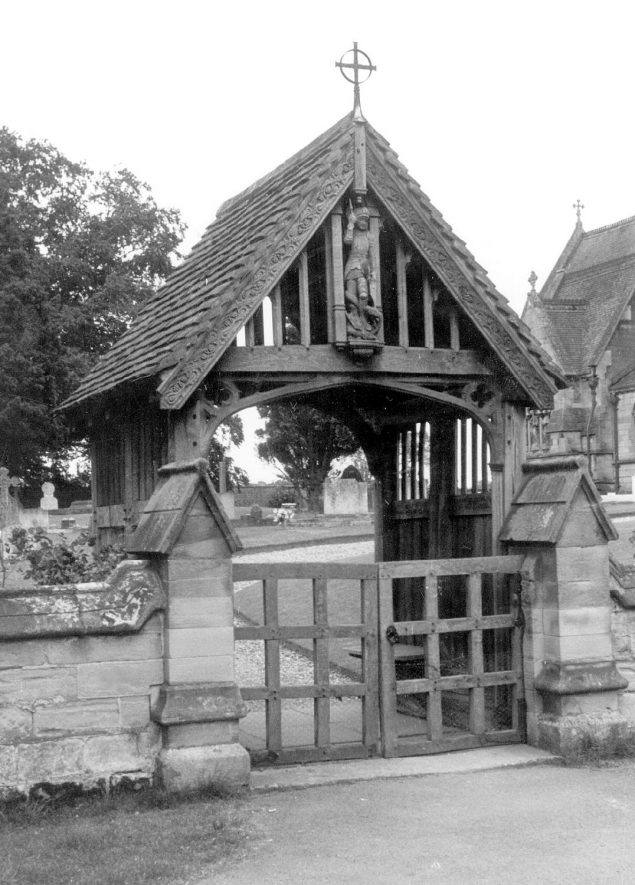 The lych gate at All Saint's church, Sherbourne.  1967 |  IMAGE LOCATION: (Warwickshire County Record Office)