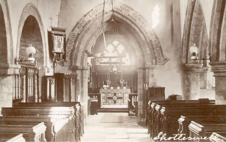 Interior of St Lawrence's church, Shotteswell.  1910s |  IMAGE LOCATION: (Warwickshire County Record Office)