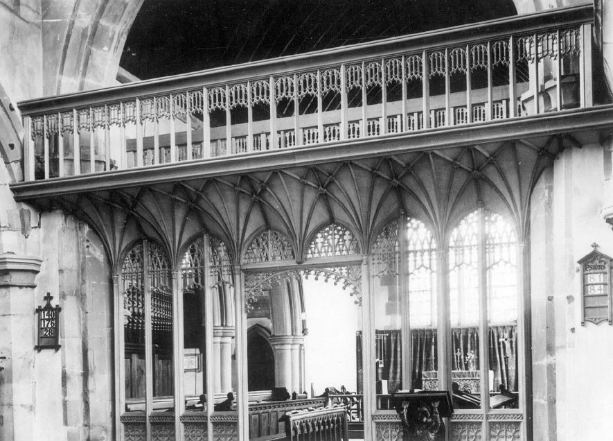 The nave screen in St James church, Southam.  1938 |  IMAGE LOCATION: (Warwickshire County Record Office)