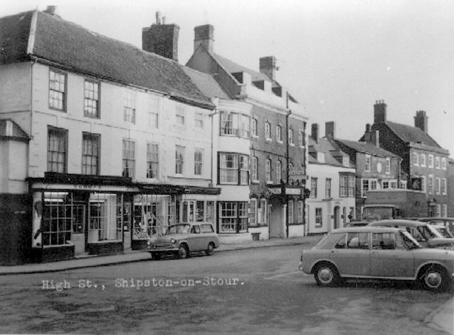 View looking along High Street, Shipston on Stour.  1960s |  IMAGE LOCATION: (Warwickshire County Record Office)
