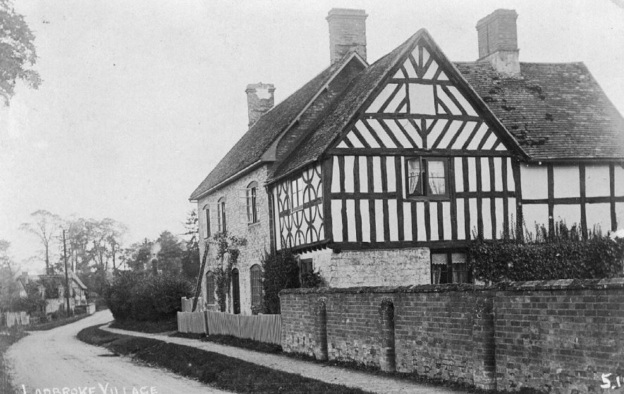 View of Ladbroke village showing half timbered cottage.  1916 |  IMAGE LOCATION: (Warwickshire County Record Office)