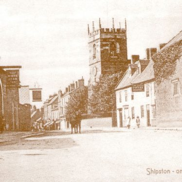 Shipston on Stour.  Church Street and church