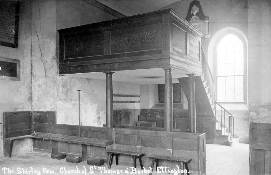Interior of the church showing the Shirley pew, Ettington.  1920s |  IMAGE LOCATION: (Warwickshire County Record Office)