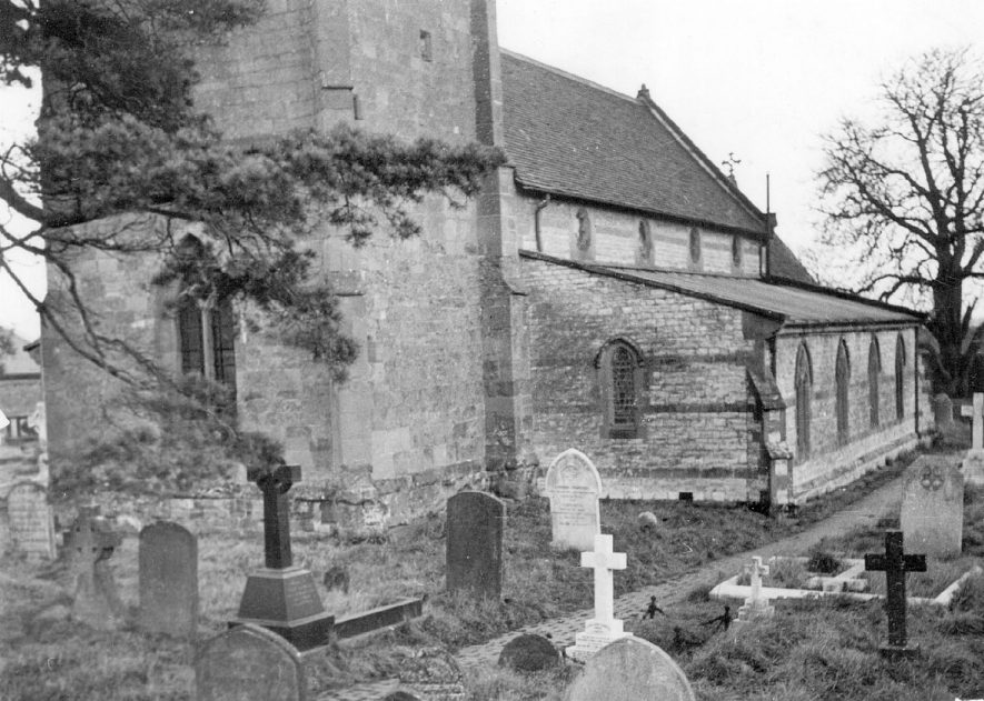 Exterior view of St Michael's Church, Stockton.  1940s |  IMAGE LOCATION: (Warwickshire County Record Office)