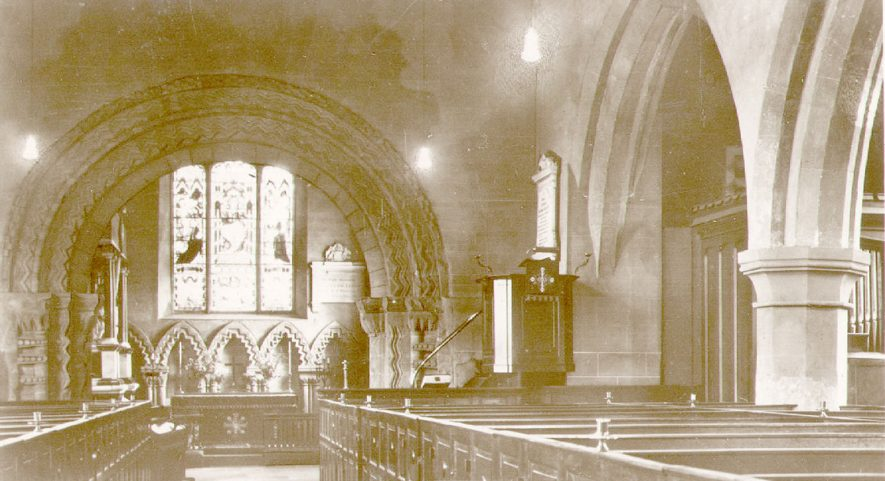 St Mary's church interior looking eastwards, Stoneleigh.  1940s    IMAGE LOCATION: (Warwickshire County Record Office)