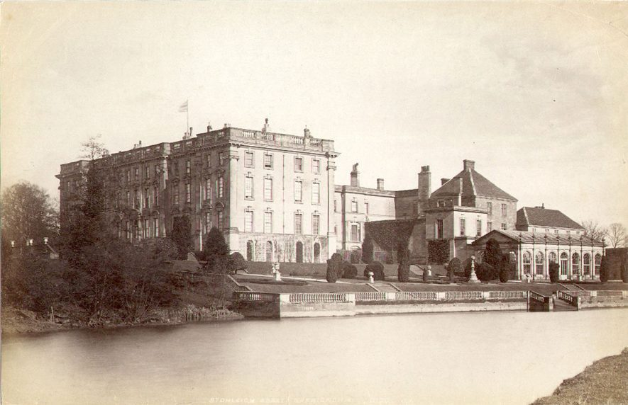 Stoneleigh Abbey seen from across the River Avon, showing the orangery.  1940s |  IMAGE LOCATION: (Warwickshire County Record Office)