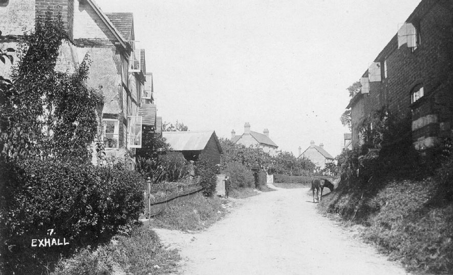 Street with timbered house, Exhall, nr Alcester.  1910s |  IMAGE LOCATION: (Warwickshire County Record Office)