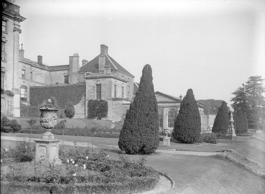 Rear of Stoneleigh Abbey house and part of the garden.  1950s |  IMAGE LOCATION: (Warwickshire County Record Office)