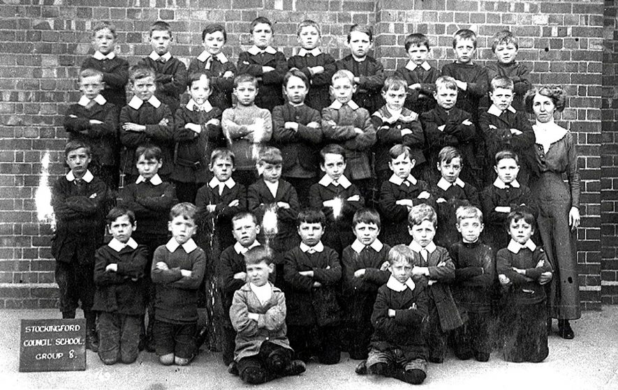 Stockingford council school photograph of boys in group 8 with their teacher.  1900s |  IMAGE LOCATION: (Warwickshire County Record Office)