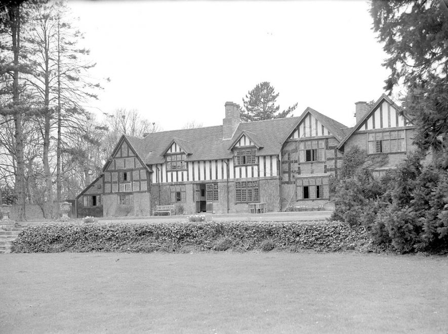 Rear view of Shakespeare Hall and gardens, Rowington.  April 12th 1955 |  IMAGE LOCATION: (Warwickshire County Record Office)