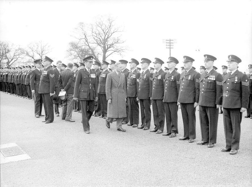 King George VI inspecting police officers at the Ryton on Dunsmore police training college.  April 5th 1951    IMAGE LOCATION: (Warwickshire County Record Office) PEOPLE IN PHOTO: George VI