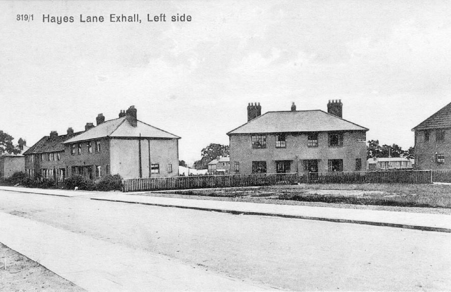 Hayes Lane, Exhall, nr Coventry. Semi-detached houses.  1920-30s |  IMAGE LOCATION: (Warwickshire County Record Office)