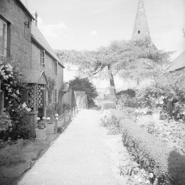 Shotteswell.  Cottages and church spire