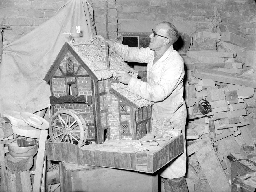Model watermill being built by Mr C Gardner of Stockton.  1957 |  IMAGE LOCATION: (Warwickshire County Record Office) PEOPLE IN PHOTO: Gardner, C, Gardner as a surname