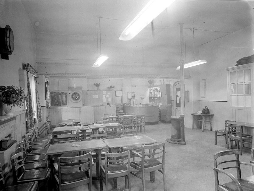 Stoneleigh Club, interior, which was 100 years old at the time of the photograph.  1956 |  IMAGE LOCATION: (Warwickshire County Record Office)