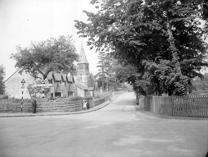 Temple Grafton parish church and cottages.  1956 |  IMAGE LOCATION: (Warwickshire County Record Office)