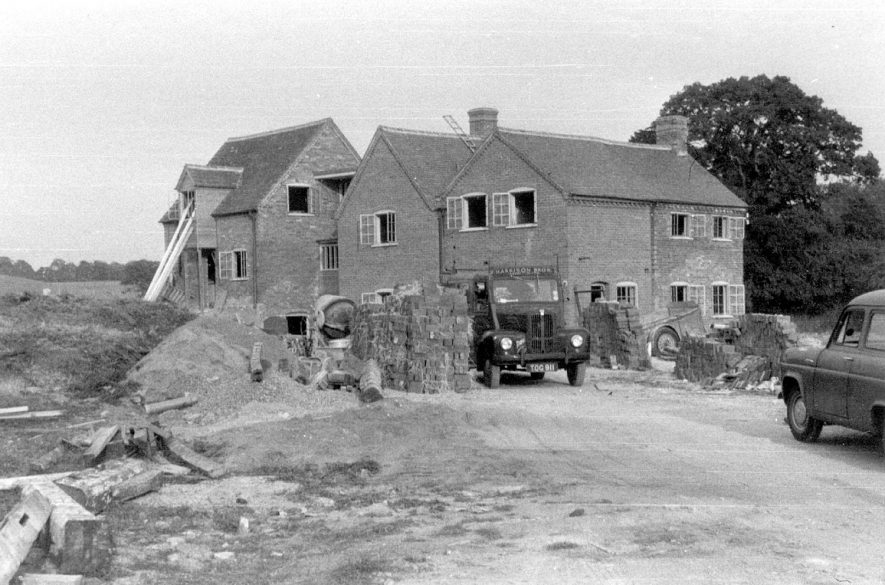 Tan Mill, undergoing restoration and building work. Tanworth in Arden.  September 1959 |  IMAGE LOCATION: (Warwickshire County Record Office)