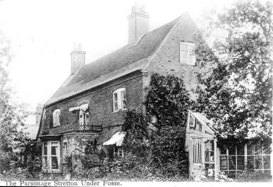 Exterior of The Parsonage, Stretton under Fosse.  1900s |  IMAGE LOCATION: (Warwickshire County Record Office)