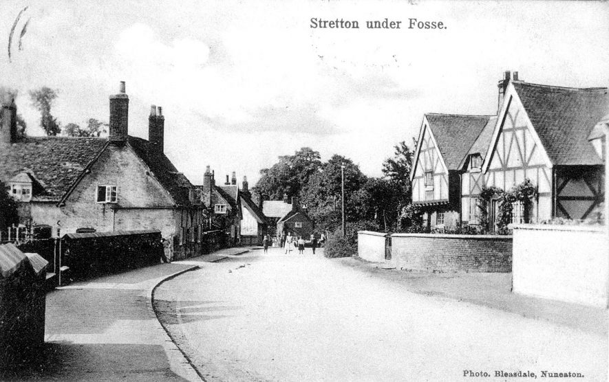 Village street with timber framed houses, Stretton under Fosse.  1900s |  IMAGE LOCATION: (Warwickshire County Record Office)