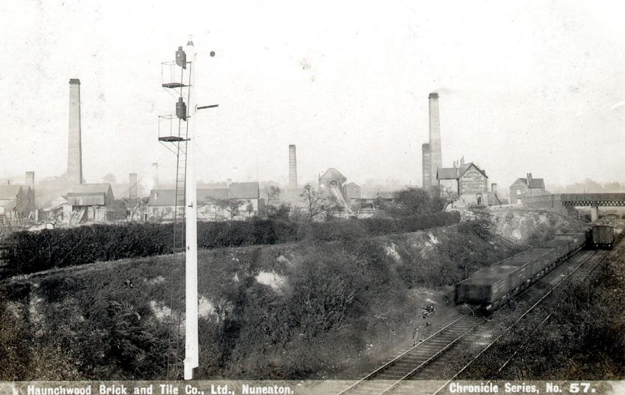 The Haunchwood Brick and Tile Co. Ltd. and the railway running alongside. Stockingford.  1900s |  IMAGE LOCATION: (Warwickshire County Record Office)