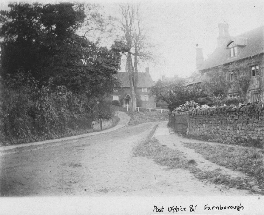 The post office, part of village street and cottage, Farnborough.  1900s |  IMAGE LOCATION: (Warwickshire County Record Office)