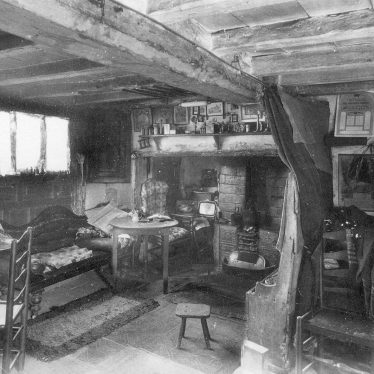 Shottery.  Interior view of  Ann Hathaway's Cottage