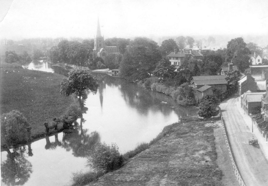 Holy Trinity Church and River Avon from Memorial Theatre, Stratford upon Avon.  1885 to 1890 |  IMAGE LOCATION: (Warwickshire County Record Office)