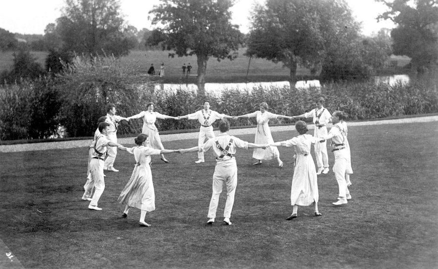 Folk dancers performing