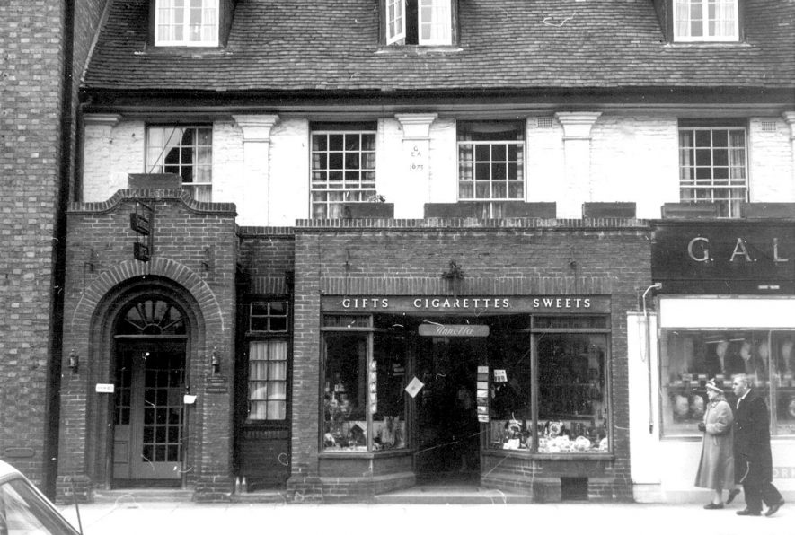 Part of a street in Stratford upon Avon.  1963.