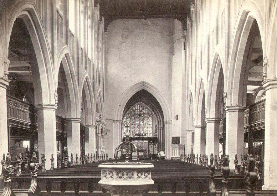 Holy Trinity Parish Church interior, Stratford upon Avon.  1890s. |  IMAGE LOCATION: (Warwickshire County Record Office)